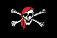 Red Scarf Jolly Roger Flag