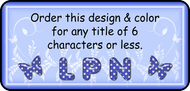 Title shown on the tag is an example only. We can do any title up to 6 letters.