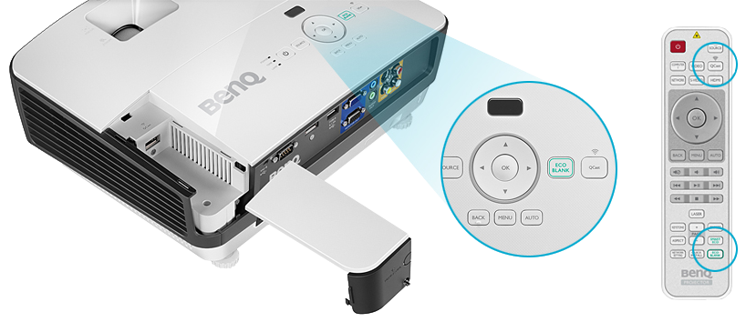 One-touch buttons for EcoBlank and QCast on both the remote and the projector
