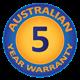 5 Year Australian Warranty