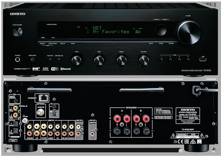 Onkyo TX-8150 Stereo Audio DAB+ Bluetooth Network Receiver Amplifier Phono  Input Black