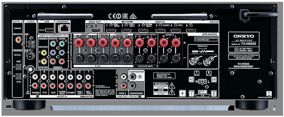 Onkyo TX-NR555 7.2-Channel DTS-X & Dolby Atmos Ready Network AV Receiver - rear view