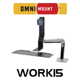"""OmniMount Work15 Single Monitor Sit/Stand Desk Mount (Up to 22"""")"""