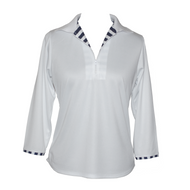 Ladies Golf Top in White with Striped Detail