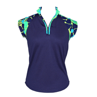 Ladies Cap Sleeve Top in Navy Vision Print