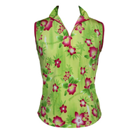 Sleeveless Top in Tropical Lime Green Print