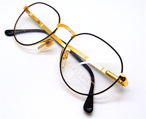 Occhiali 2248 Vintage Panto Shaped Eyewear In Black and Gold At The Old Glasses Shop Ltd