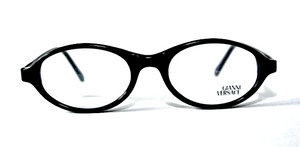 Vintage Versace V20 Oval Shaped Black Acrylic Eyewear At The Old Glasses Shop