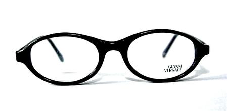 Vintage Versace V20 Oval Shaped Black Acrylic Eyewear At The Old Glasses Shop
