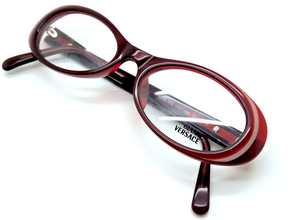 Vintage Versace V23 Burgundy Oval Eyewear At The Old Glasses Shop