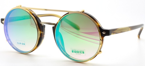 Raul Col.6 With Matching Gold & Green Sunclip By Les Pieces Uniques At The Old Glasses Shop