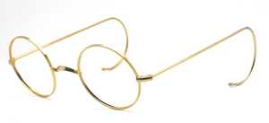Ghandis Glasses Style True Round Gold Colour Eyewear By Beuren With Saddle Bridge And Curlsides 44mm
