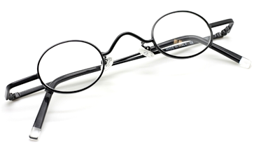 Very small oval vintage glasses by Beuren in a black finish at The Old Glasses Shop