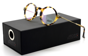Vintage Round Style Combination Tortoiseshell Effect Acrylic & Antique Gold Metal Glasses By Archivio Moderno AM 2009