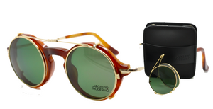 2 in 1 Archivio Moderno Round Italian Luxury Eyewear In Tan Acrylic & Gold With Folding Sun Clip and Variable Arm Length