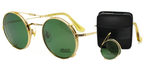2 in 1 Archivio Moderno Luxury Round Glasses Gold Finish + Sun Clip On and Self Adjustable Temple Size