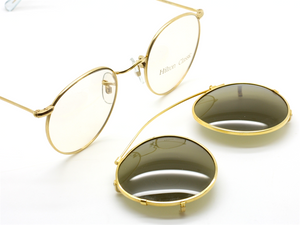 Vintage Hilton Panto 47mm Gold Eyewear With Matching Sunclip At The Old Glasses Shop