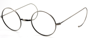 Antique Silver Savile Row Style True Round Eyewear By Beuren With Saddle Bridge And Curlsides In Eye Sizes 36mm-50mm