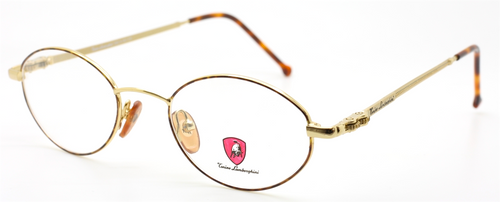 Oval Designer Vintage Eyewear By Lamborghini 054 In Gold And Tortoiseshell Effect At The Old Glasses Shop