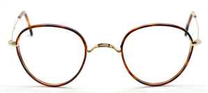 Gold Vintage Panto Shaped Eyewear With Chestnut Acrylic Rims By Beuren At The Old Glasses Shop