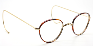 Panto NHS Style Spectacles By Beuren With Saddle Bridge And Chestnut Rims 42mm With Straight OR Curlside Arms