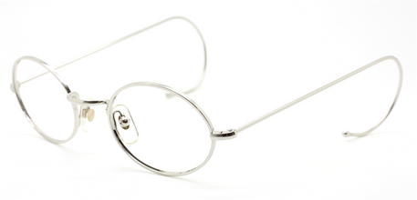 Vintage Oval Shiny Silver Eyewear With Hooked Ear Pieces At The Old Glasses Shop