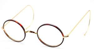Vintage Savile Row Style True Round Glasses With Chestnut Rims And Curlsides At The Old Glasses Shop