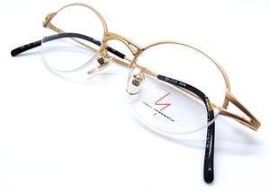 Yamamoto 7105 Matt Gold Half Rim Frame At The Old Glasses Shop