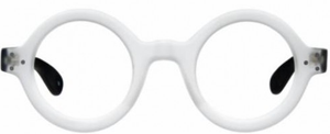 ONE LEFT! Anglo American 180E White Round Eye Frosted Glasses Frames