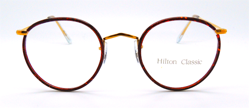 14k rolled gold classic panto eyeglasses with Chestnut rims from www.theoldglassesshop.com