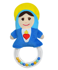 "Mother Mary Pray for Us Plush Rattle~Teaching our children to love our Mother Mary in a fun and playful way will forever benefit their faith journey.  The Mother Mary Pray for Us Rattle is a devotional toy that invites teaching moments, sanctifies play and encourages devotion to Jesus, through Mary, from an early age.  There is only one Mary…  The Mother Mary Rattle is a unique one-of-a-kind gift for baby showers, infant baptisms, holidays, or the ""just because I Love You"" gift.  Product Features:  High quality vibrant colored plush doll Colorful rattle beads enclosed in clear plastic doughnut for tactile stimulation and entertainment. Safety tested for ages 0 and up. Measurements:  Approximately 7"" tall and 3 ¾"" wide."