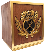 Red oak tabernacle with brass border and wheat and grapes carving - St. Jude Shop