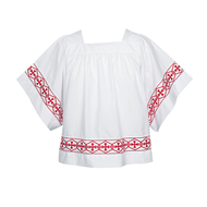 Square Neck Banded Surplice, 113B as a cross design orphrey comes in several colors.  Please specify: Red, Black, Purple, or Gold. Banded items are non returnable!