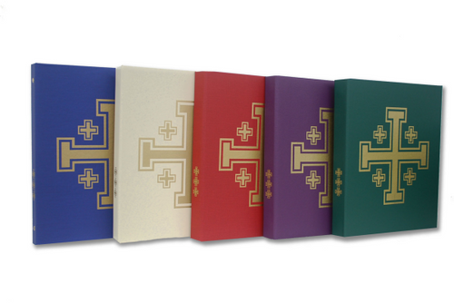 """Clothbound ceremonial binder with 1.5"""" spine. Front, back and sides embossed with gold Jerusalem Crosses. 2 vinyl inner pockets. Made in the U.S.A."""