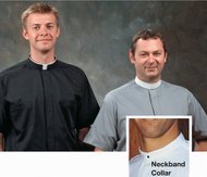 Neckband Short Sleeve Shirts ~ Short Sleeve Neck band shirts are full cut with two pockets and a stitched fly front.  Made with an easy-care 65% Polyester/35% cotton material  Neckband Shirts are designed to be worn with Collarettes, Collars and Collar Buttons.  *Collarettes, Collars and Collar Buttons sold separately.