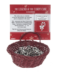 "The Legend of the Candy Cane Charm is made of Zinc. the Charm measures 5/8""W x 1""H.  The Candy Cane charm comes with a card telling the story of the colors mean and shape of the candy cane mean"