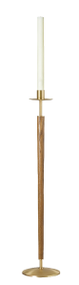 "Paschal Candle Stand ONLY - Style 1242 - Hardwood shaft, satin Brass finish. Steel weight in base. 42"" Tall, 10"" Base. 1-15/16"" Candle Socket.  MADE IN THE USA"