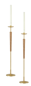 "Pair of Processional Candlesticks Style 1643 - Shafts made from brass with bronze lacquer. Wood in medium wood stain. 8-7/8"" base, 42"" inch Height. Comes with sockets to accomodate 1-1/2"" Altar Candles. MADE IN THE USA"