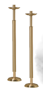 "Processional Candlestick - Style 1693 - Hand crafted with combination of satin and polished brass finish then protected with a bronze lacquer. 42"" inch Height. Comes with sockets to accomodate 1-1/2"" Altar Candles. Candlestick breaks above node for processional use. Sold in Pairs."