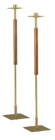 "Processional Candlesticks Style 1871 - Shafts made from brass with bronze lacquer. Wood accents in medium wood stain. Square steel bases are gold powder coated. 43""H. Comes with sockets to accomodate 1-1/2"" Altar Candles. If you desire another size please contact us at 1 800 523 7604.  Made in the USA"