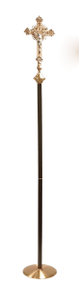 Processional Cross 2910.  The Crucifix, measuring fifteen inches high, features a six-inch Corpus on a budded cross with a node at the transition to the shaft.  The shaft measures eighty-eight inches high with a durable black and gold vein powder-coat finish.  The Crucifix rests on a weighted brass base measuring twelve inches in diameter.