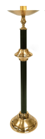 "This handsome pair of candlesticks is made from strong, durable brass with a combination of satin and high polish finishes.  The shafts are finished with a black and gold-veined powder-coat.  Each candlestick measures 40""H to the bobeche and is outfitted with a 1-1/2 inch socket.  A sturdy base, measuring 12"" in diameter, supports each candlestick and provides stability.  The candlesticks, sold as a pair, will make a fine addition to the celebration of the Mass in your church. You may request any size up to three inches at no additional charge. Please contact us for pricing if you need a socket larger than 3"".  1 800 523 7604"