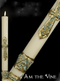 The I am the Vine Paschal Candle displays outstanding craftsmanship and adherence to the highest standards of design and artistic talent. Many of the paschal candles  have the design embossed into the candle and are then hand painted. No appliques to cause burner hang up. Paschal nails are included with all candles. Matching side candles are also available. Made in the USA!!  Made of 51% beeswax, which insures excellent burning qualities, each pattern is fashioned entirely by hand from first step to last.