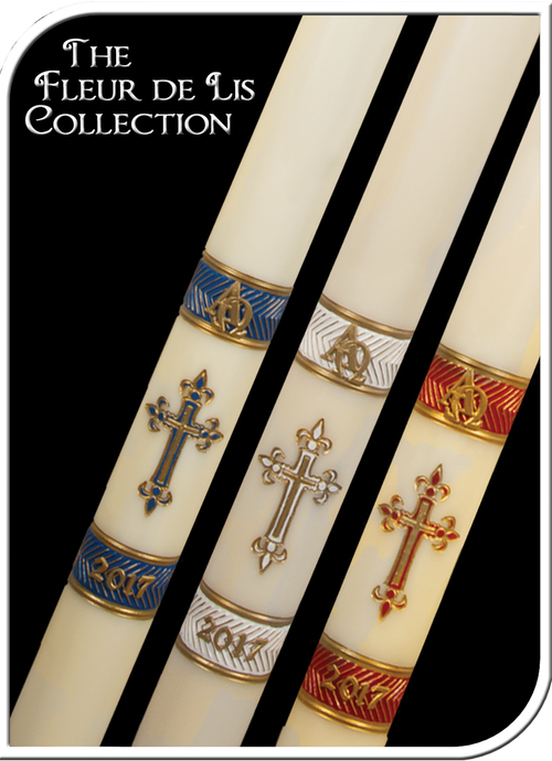 These Fluer De Lis Paschal candles display outstanding craftsmanship and adherence to the highest standards of design and artistic talent. Embossed Paschal candles have the design burned into the candle, and are then hand painted. Paschal nails are included with all candles. Only Premium USA Beeswax is used.  Wax is unbleached and naturally filtered for cleaner and longer burning candles. Handcrafted by Artisans. Made in USA!!