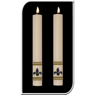 Enhance the presence of your Fleur de Lis Paschal Candle with a pair of beautiful complementing 51% Beeswax Altar Candles. Available in a variety of lengths and widths. Made in the USA!! Choice of Red, White or Blue