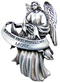 "Heavyweight oxidized pewter visor clip with polished slide to hold securely on your visor. ""Guardian Angel Protect My Mom"""