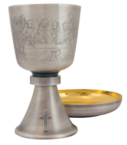 "Chalice with Last Supper Engraved Design, A-2026s, Oxidized Silver finish, 16 ounce, 7"" high, 6 1/8"" Bowl Paten included."