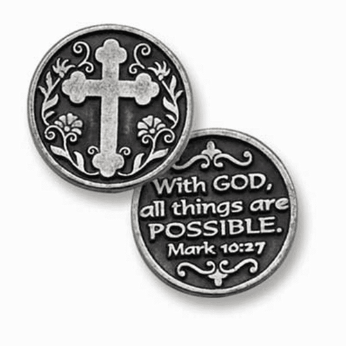 """""""With God all things are possible"""" Zinc pocket token 1"""" diameter"""