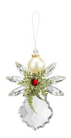 """Pearl Angel Ornament. The Pearl Angel Ornament is 4 12""""H. The Pearl Angel Ornament is made of acrylic. Angel is adorned with a greens and a red jewel.  Pearl Angel Ornament has a 3"""" loop for easy hanging."""