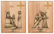 "14 Cast Stations of the Cross in Statuary Bronze or 24K Gold plated. Mounted on 8"" x 10"" Oak finish plaques with small cross."